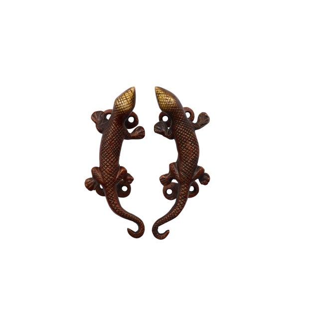 Red Brass Lizard Door Handles - a Pair For Sale - Image 4 of 4