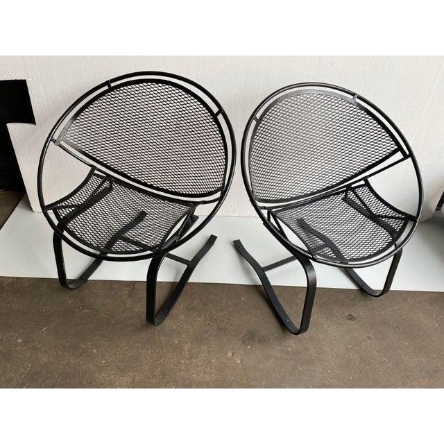 John Salterini 1950s Vintage Salterini Radar Bouncer Wrought Iron Chairs - a Pair For Sale - Image 4 of 9