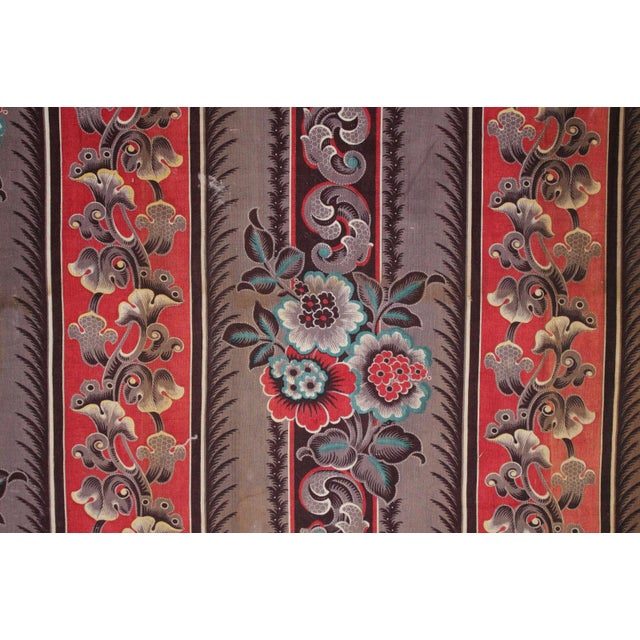 Cotton Antique French Fabric Rare Purple Red & Blue Madder Tones 1830 Roller Printed For Sale - Image 7 of 13