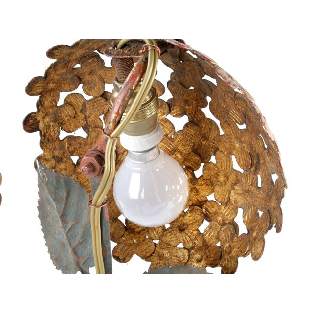Pair of Florentine Brass and Iron Sconces For Sale - Image 9 of 12