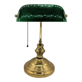 Mid 20th Century Green Glass and Brass Desk Banker Lamp For Sale