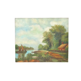1960s Vintage Scenic River Hand Stretched Oil Painting For Sale