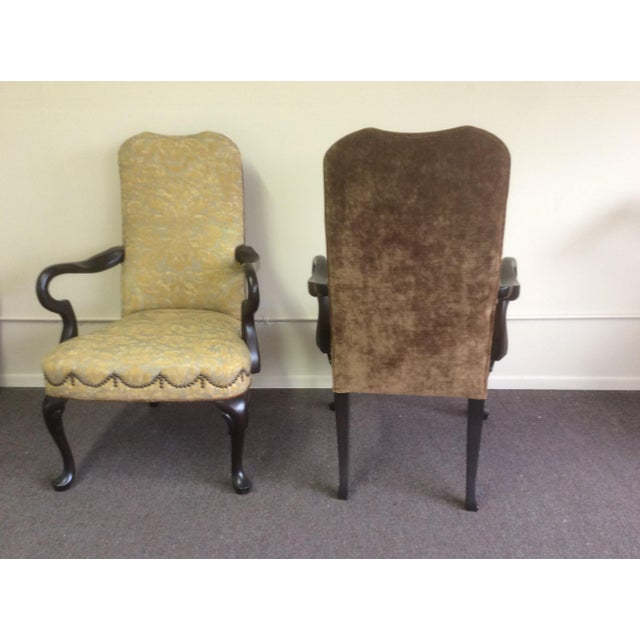 English Style Arm Chairs With Fortuny Upholstery - a Pair For Sale In San Antonio - Image 6 of 12