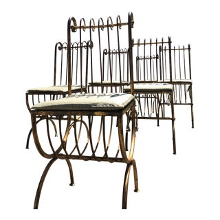 Salvadori Italian Gold Gilt Iron Chairs - Set of 6 For Sale