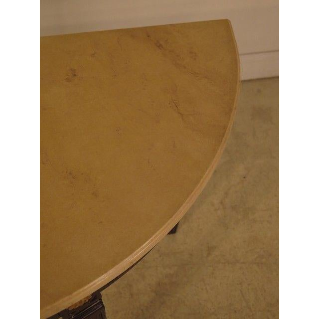 1960s Regency Faux Marble Top Demi Lune Console Table For Sale - Image 5 of 8
