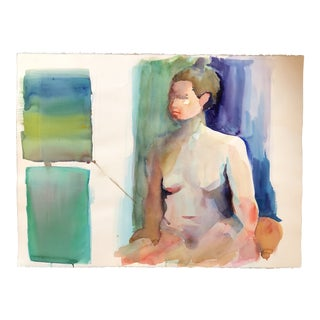 Original Female Nude Vintage Watercolor Study Painting For Sale