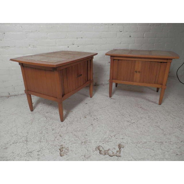 Brass Marble Top End Tables With Tambour Doors - a Pair For Sale - Image 7 of 8