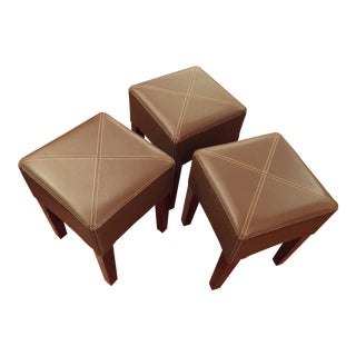 Modern Synthetic Leather Stools - Set of 3 For Sale