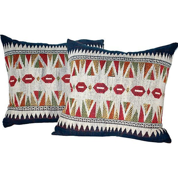 Embroidered Laotian Tribal Pillow - Pair For Sale