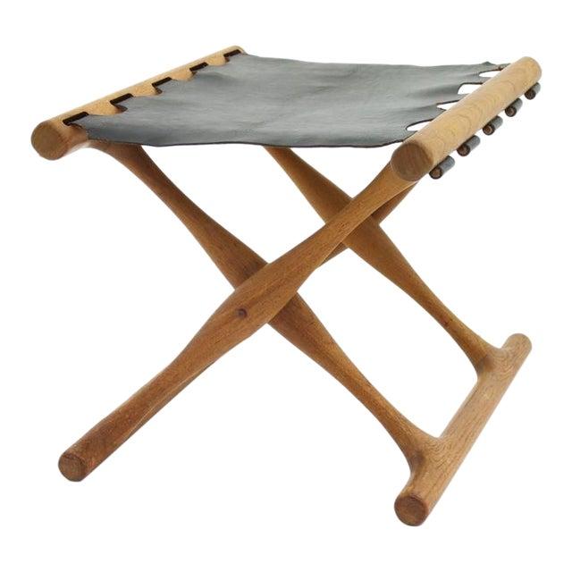 Poul Hundevad Folding Stool, Teak and Leather For Sale