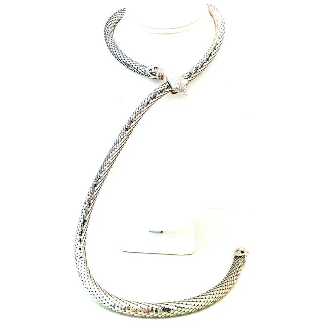 """20th Century Silver Metal Mesh Snake Necklace Or Belt By, Whiting & Davis. This iconic and classic 33"""" inch length silver..."""