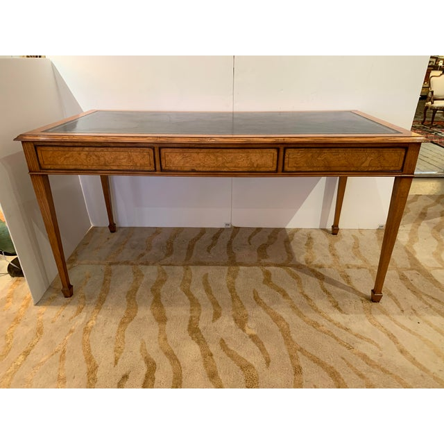 Traditional Vintage Mahogany Writing Desk With Black Leather Top For Sale - Image 3 of 13