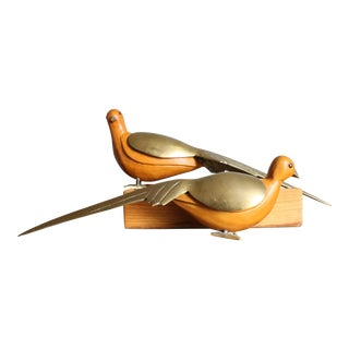 Vintage Art Deco Carved Wood & Brass Mourning Dove Pigeon Bird Figures - a Pair For Sale