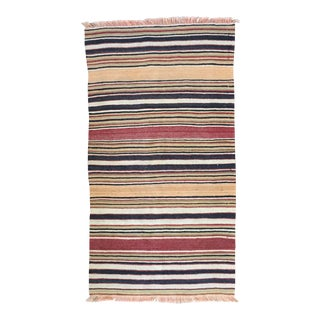 20th Century Turkish Striped Flat Weave Kilim Rug For Sale