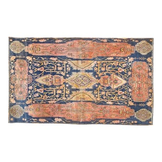 1920s Traditional Blue and Gold Cotton Rug -4'x6'6""