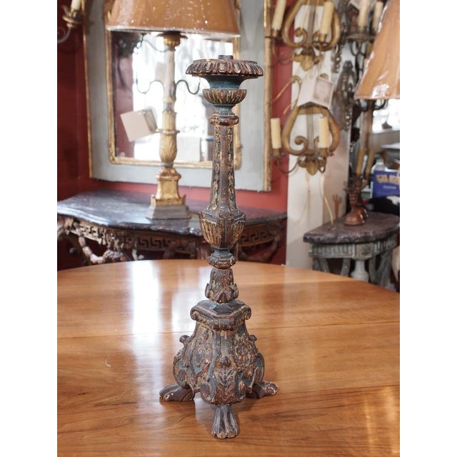 Italian 19th Century Italian Altar Stick Lamps - Pair For Sale - Image 3 of 7