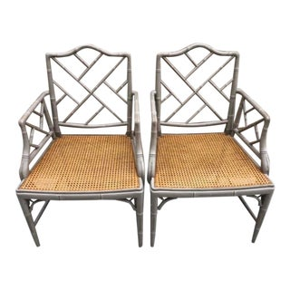 Vintage Bamboo Chinoiserie Style Armchairs- a Pair For Sale