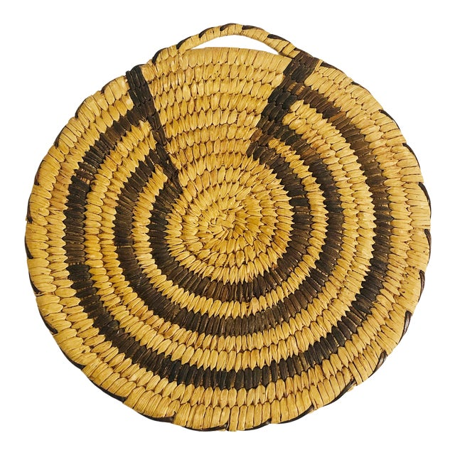 Vintage Native American Tohono O'Odham Two Tone Wall Coil Basket Wall Hanging For Sale