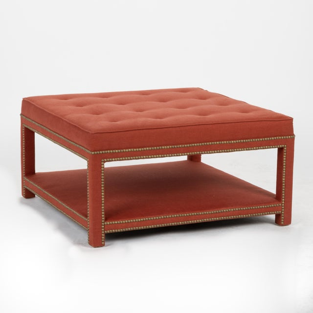 Casa Cosima Kensington Ottoman in Paprika Linen For Sale In Los Angeles - Image 6 of 6