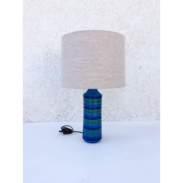 """Italian Ceramic """"Rimini Blue"""" Table Lamps by Bitossi - a Pair For Sale In Palm Springs - Image 6 of 6"""
