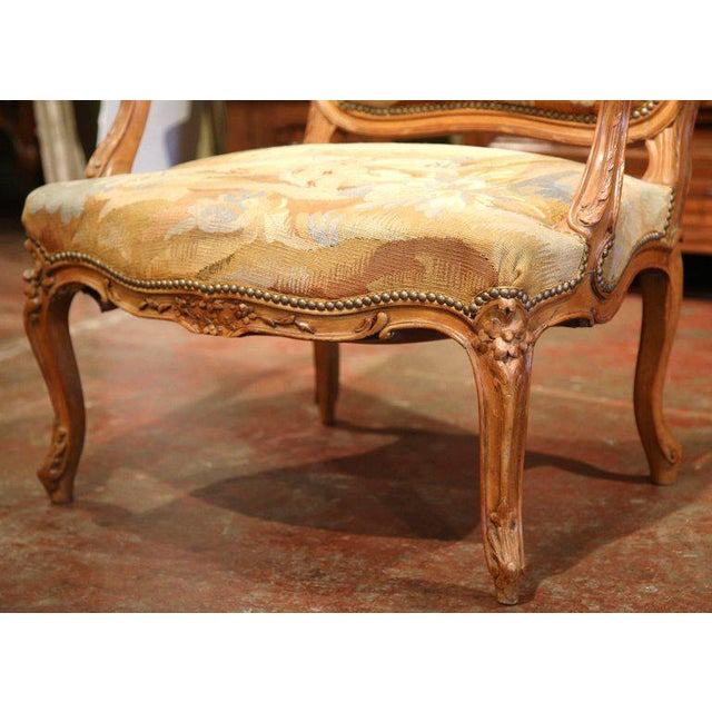Fruitwood 19th Century French Louis XV Carved Walnut Armchair With Aubusson Tapestry For Sale - Image 7 of 11