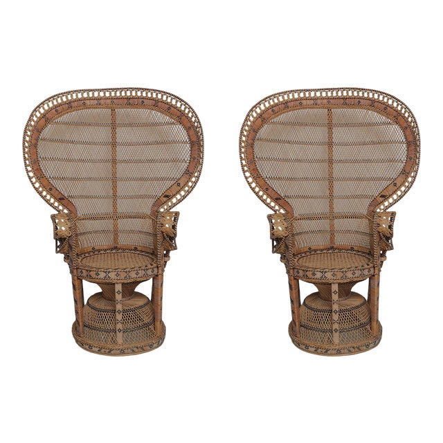 Superb Pair of Peacock Vintage Rattan Chairs For Sale