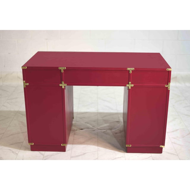 Metal 1970s Campaign Partner Desk From Drexel Et Cetera Collection For Sale - Image 7 of 9