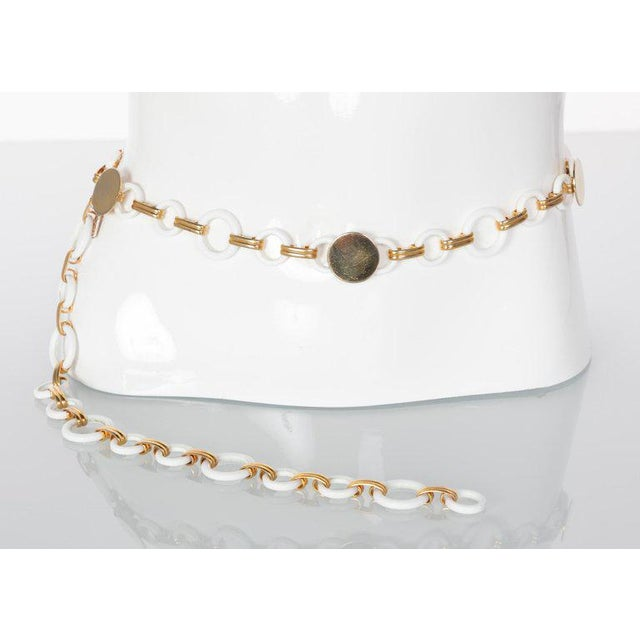 Modern Yves Saint Laurent White Lucite Gold Rings Necklace Belt Ysl, 1970s For Sale - Image 3 of 7