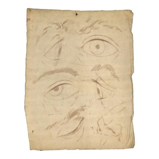 Antique French Artist's Study of Eyes and Nose For Sale