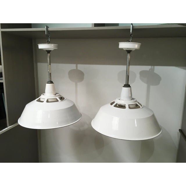 Mid-Century Modern 1950s Smoot Holman Industrial White Enamel Pendant Lights - a Pair For Sale - Image 3 of 13