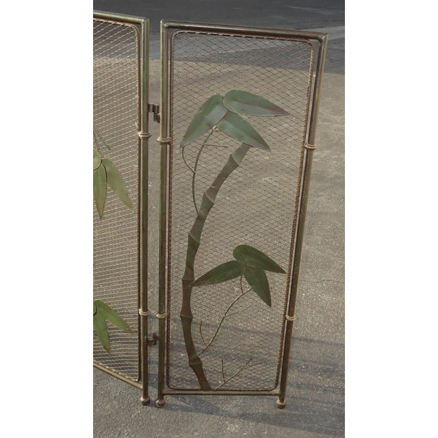 Vintage French Country Black Fireplace Screen with Bamboo Leaves Limbs For Sale - Image 4 of 12