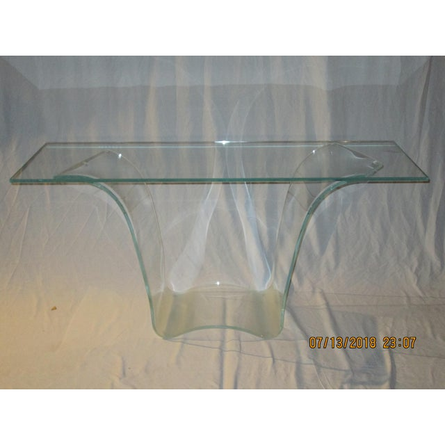 Contemporary Late 20th Century Vintage Fiam Style All Glass Ghost Console Table For Sale - Image 3 of 10