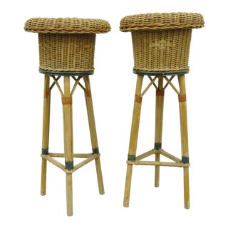 Vintage Victorian Painted Wicker Rattan Plant Stands - A Pair