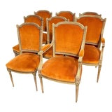 Image of 19th Century French Louis XVI Style Carved and Gilded Dining Chairs - Set of 8 For Sale
