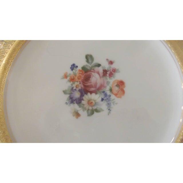 Set of 12 Gold Encrusted Floral Service Cabinet Plates For Sale - Image 4 of 9