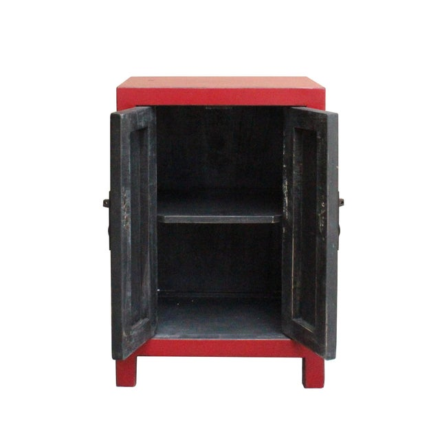 Chinese Red Lacquer Moonface End Table Nightstand For Sale In San Francisco - Image 6 of 8