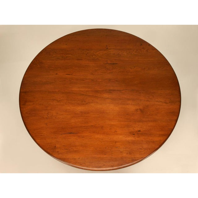 """British Colonial Vintage English Hand-Crafted Solid Cherry 64"""" Round Dining Table For Sale - Image 3 of 11"""