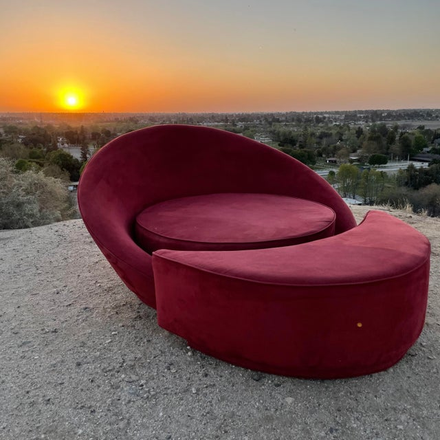 1960s Vintage Milo Baughman Attributed Satellite Chaise & Moon Shape Ottoman For Sale In Los Angeles - Image 6 of 6