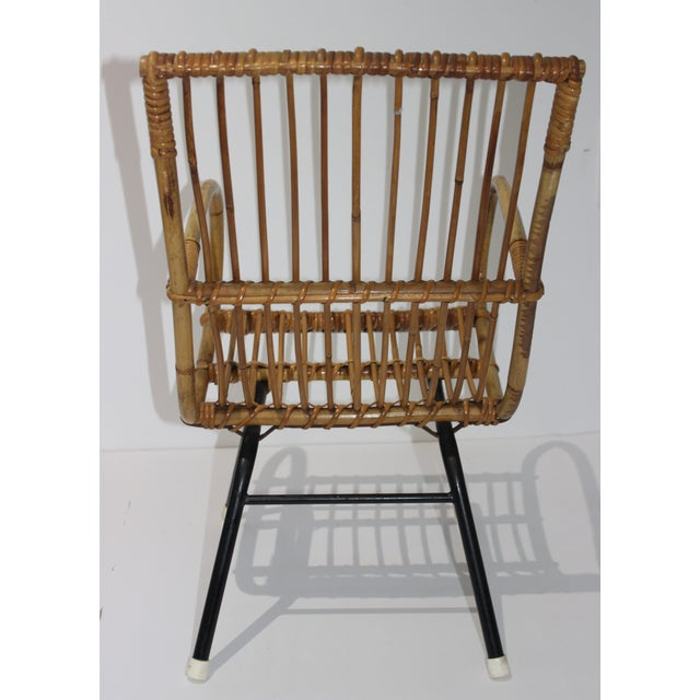 Franco Albini Mid-Century Modern Franco Albini Style Child's Chair Bamboo and Rattan For Sale - Image 4 of 13