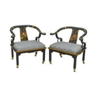 Century Asian Style Pair of Black Lacquer Chinoiserie Painted Arm Chairs