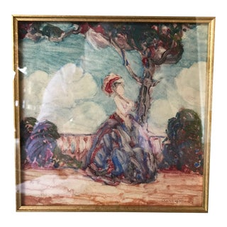 """""""Woman With a Parasol"""" Artwork by Clark Hobart For Sale"""