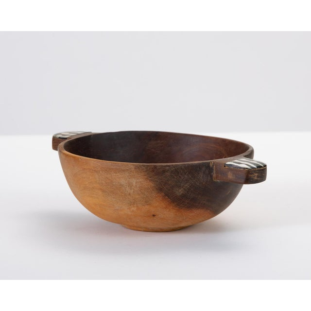 Hand-Carved Sandalwood Bowl With Bone Inlay Handles For Sale - Image 4 of 10