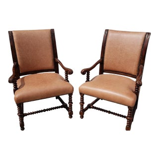 1960s Vintage Theodore Alexander Savoy Leather Chairs - A Pair For Sale