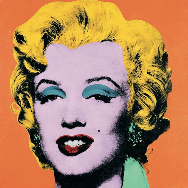 Andy Warhol- Marilyn Orange (Lg): Out-of-print reproduction of Warhol's Marilyn Yellow hair on orange background. This...