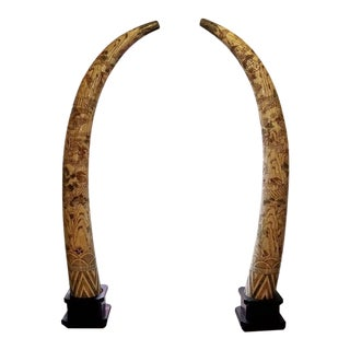 20c Chinese Profusely Handcarved Faux Elephant Tusks