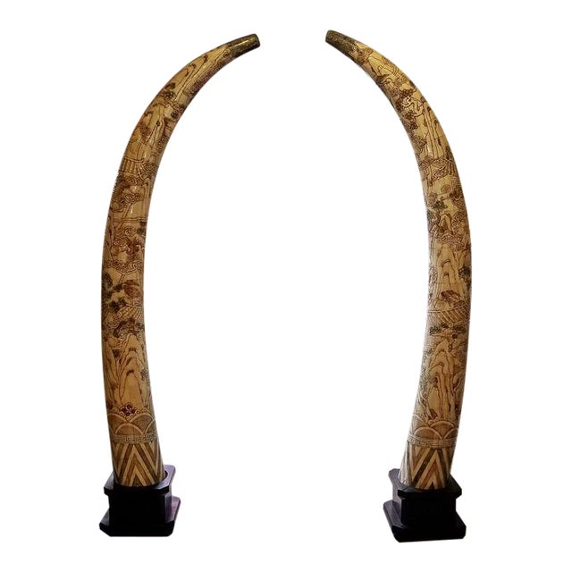 20th Century Chinese Profusely Handcarved Faux Elephant Tusks - a Pair For Sale