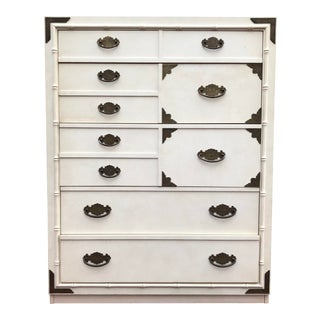 Vintage Faux Bamboo Thomasville Huntley Five Drawer Dresser For Sale