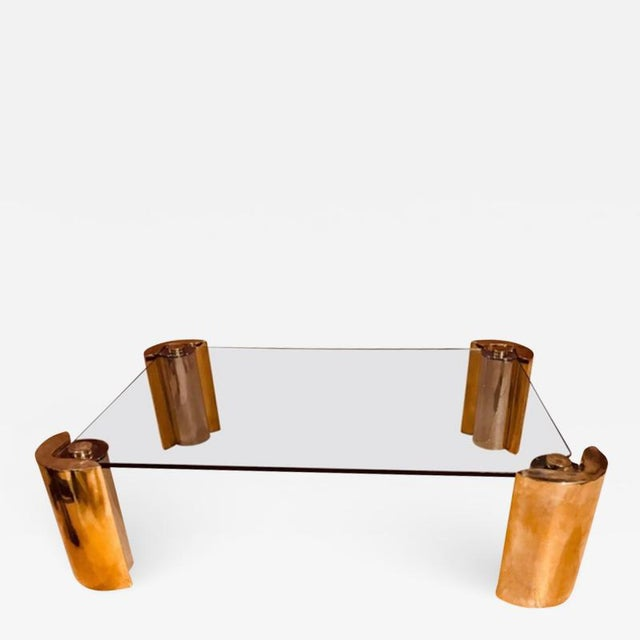 Late 20th Century Karl Springer Two Tone Modern Cylinder Base Coffee Table For Sale - Image 5 of 5