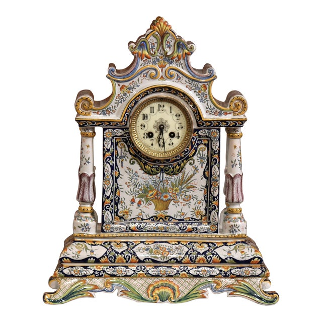 19th Century French Hand-Painted Ceramic Mantel Clock From Rouen For Sale