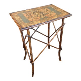 Decoupage and Bamboo Side Tables For Sale
